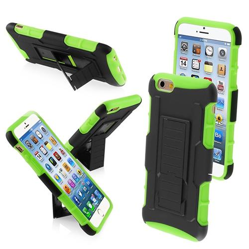 Insten Car Armor Hard Hybrid Plastic Silicone Cover Case w/stand For Apple iPhone 6/6s, Black/Green