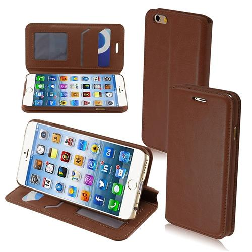 Insten Folio Leather Fabric Cover Case w/stand/card slot/Photo Display For Apple iPhone 6/6s, Brown