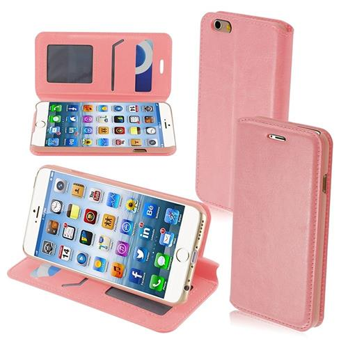 Insten Book-Style Leather Fabric Case w/stand/card slot/Photo Display For Apple iPhone 6/6s, Pink
