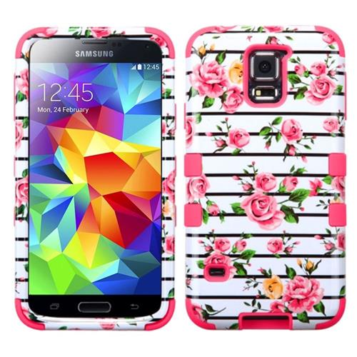 Insten Tuff Fresh Roses Hard Hybrid Rubberized Silicone Case For Samsung Galaxy S5,White/Hot Pink