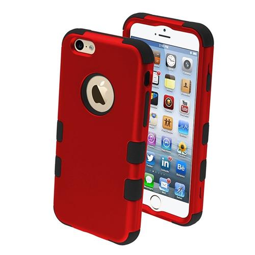 Insten Tuff Hard Hybrid Plastic Silicone Cover Case For Apple iPhone 6/6s, Red/Black