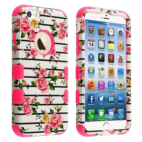 Insten Tuff Fresh Roses Hard Dual Layer Plastic Silicone Case For Apple iPhone 6/6s