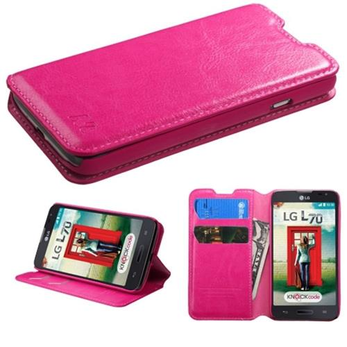 Insten Leather Fabric Case w/stand/card slot For LG Optimus Exceed 2 VS450PP Verizon,Hot Pink