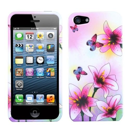 Insten Spring Flowers Hard Plastic Cover Case For Apple iPhone 5/5S/SE, Pink