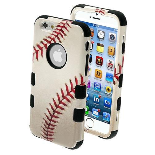 Insten Tuff Baseball Hard Dual Layer Plastic Silicone Cover Case For Apple iPhone 6/6s