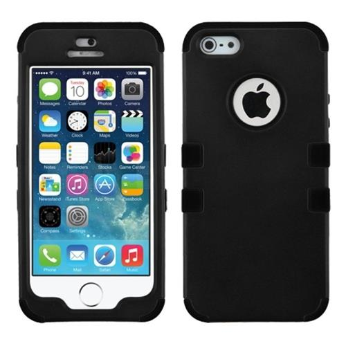 Insten Tuff Hard Dual Layer Rubber Silicone Case For Apple iPhone 5/5S/SE, Black