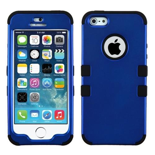 Insten Tuff Hard Dual Layer Rubber Coated Silicone Case For Apple iPhone 5/5S/SE, Dark Blue/Black