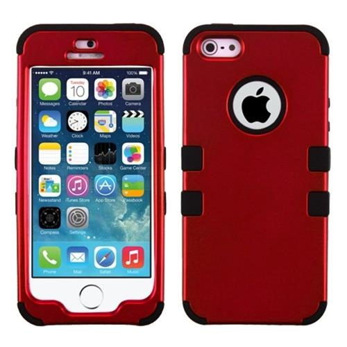 Insten Tuff Hard Dual Layer Rubber Silicone Cover Case For Apple iPhone 5/5S/SE, Red/Black