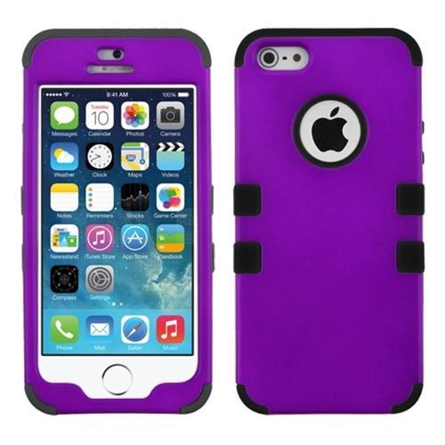 Insten Tuff Hard Hybrid Silicone Cover Case For Apple iPhone 5/5S/SE, Purple/Black