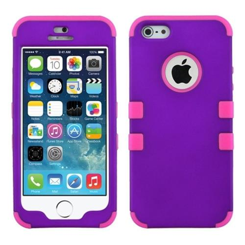 Insten Tuff Hard Hybrid Silicone Cover Case For Apple iPhone 5/5S/SE, Purple/Hot Pink