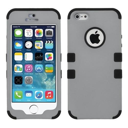 Insten Tuff Hard Hybrid Rubber Silicone Case For Apple iPhone 5/5S/SE, Gray/Black