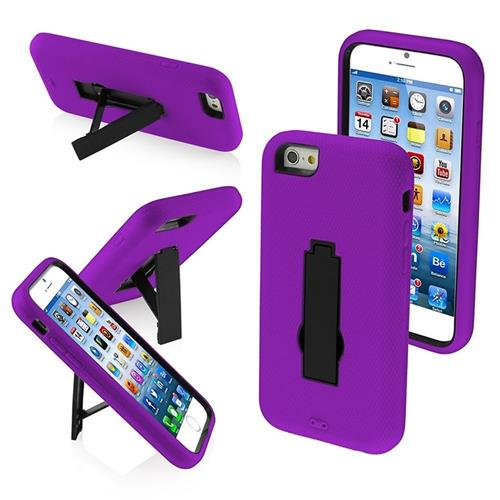 Insten Symbiosis Gel Dual Layer Rubber Hard Cover Case w/stand For Apple iPhone 6/6s, Purple/Black