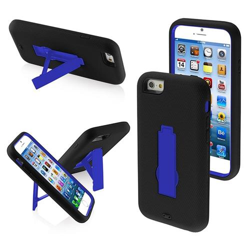 Insten Symbiosis Soft Hybrid Rubber Hard Cover Case w/stand For Apple iPhone 6/6s, Black/Blue