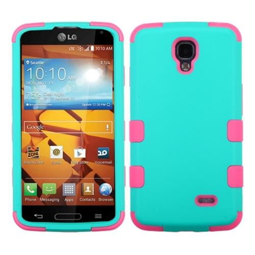 Insten Tuff Hard Dual Layer Rubber Coated Silicone Case For LG Volt, Blue/Pink