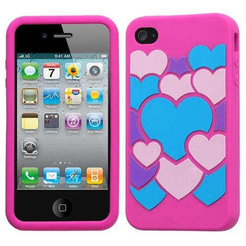 Insten Colorful Love Skin Rubber Cover Case For Apple iPhone 4/4S, Hot Pink/Colorful