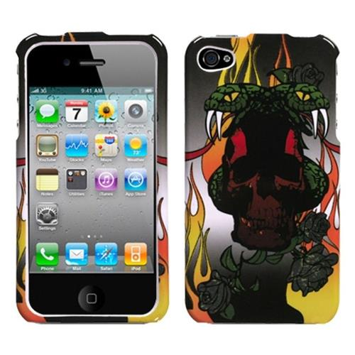 Insten Fire Snake Hard Cover Case For Apple iPhone 4/4S, Black/Other