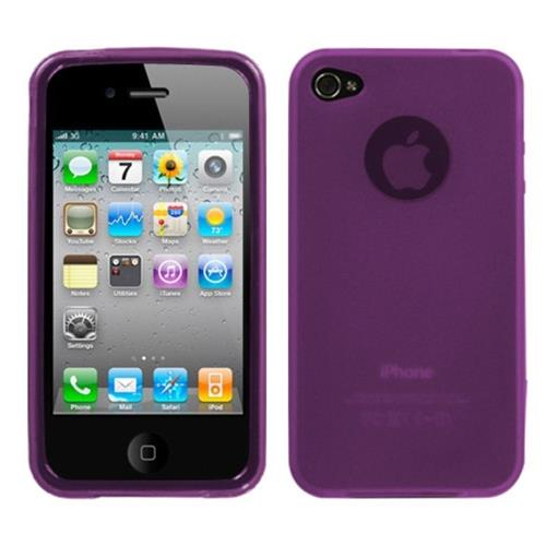 Insten Jelly Rubber Transparent Case For Apple iPhone 4/4S, Purple