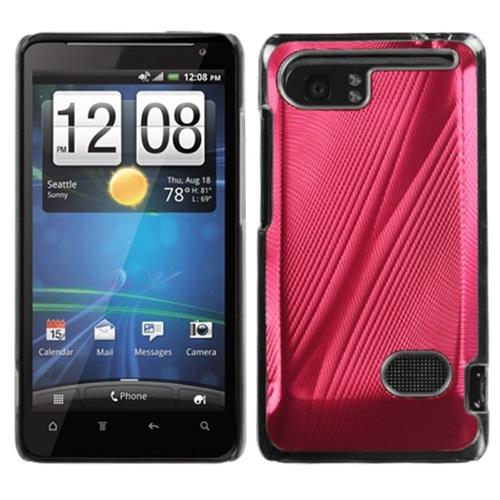 Insten Cosmo Aluminum Metallic Hard Case For HTC Holiday / Vivid / Raider 4G, Red/Clear
