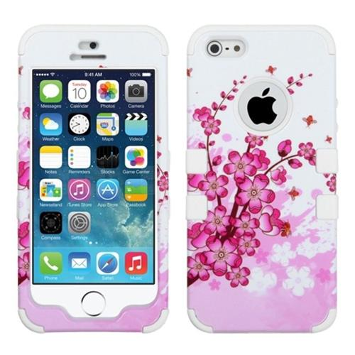 Insten Tuff Spring Flowers Hard Hybrid Silicone Cover Case For Apple iPhone 5/5S/SE, Pink/White