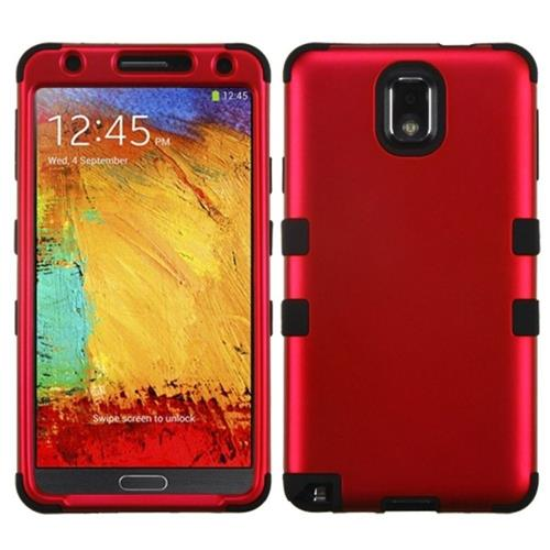 Insten Tuff Hard Hybrid Rubber Coated Silicone Cover Case For Samsung Galaxy Note 3, Red/Black