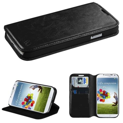 Insten Folio Leather Fabric Case w/stand/card holder For Samsung Galaxy S4/S4 (LTE version), Black