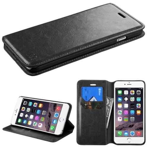 Insten Flip Leather Fabric Cover Case w/stand/card slot For Apple iPhone 6 Plus/6s Plus, Black