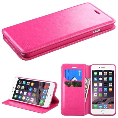 Insten Folio Leather Fabric Case w/stand/card holder For Apple iPhone 6 Plus/6s Plus,Hot Pink