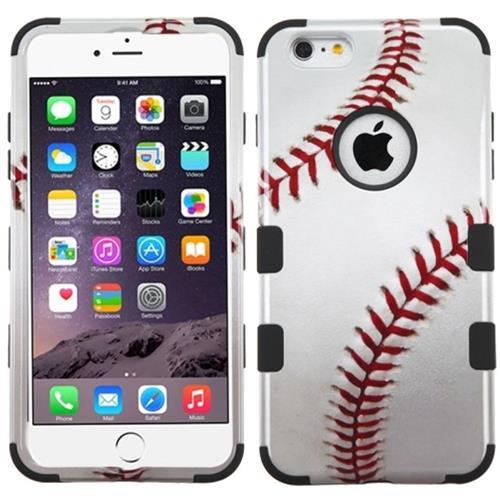Insten Tuff Baseball Hard Hybrid Rubber Coated Silicone Case For Apple iPhone 6 Plus/6s Plus /Black