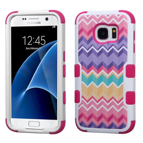 Insten Tuff Camo Wave Hard Dual Layer Silicone Cover Case For Samsung Galaxy S7, Hot Pink/Purple