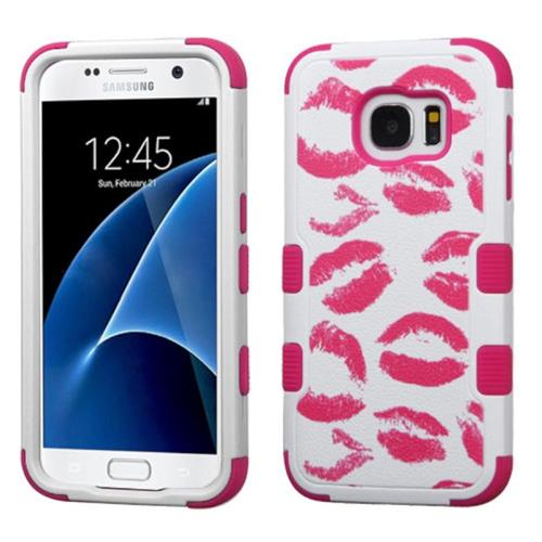 Insten Tuff Kisses Hard Hybrid Rubber Silicone Case For Samsung Galaxy S7, Hot Pink/White