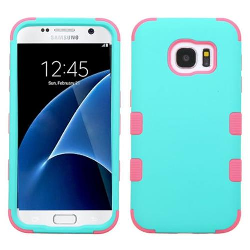 Insten Tuff Hard Hybrid Rubber Silicone Case For Samsung Galaxy S7, Teal/Pink