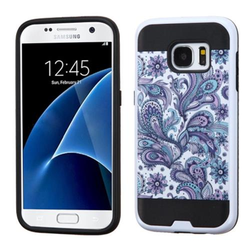 Insten European Flowers Hard Hybrid Silicone Case For Samsung Galaxy S7, Purple/White