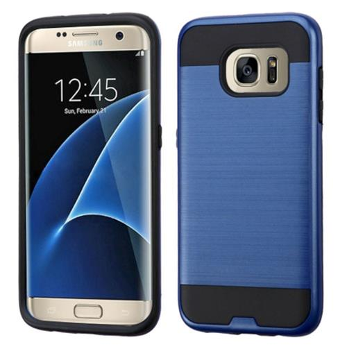 Insten Hard Dual Layer Rubber Silicone Case For Samsung Galaxy S7 Edge, Blue/Black