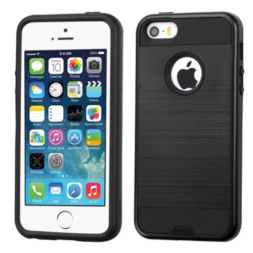 Insten Hard Dual Layer Silicone Cover Case For Apple iPhone 5/5S/SE, Black