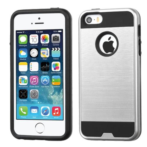 Insten Hard Dual Layer Rubber Coated Silicone Case For Apple iPhone 5/5S/SE, Silver/Black