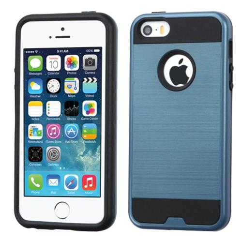 Insten Hard Dual Layer Rubber Coated Silicone Case For Apple iPhone 5/5S/SE, Blue/Black