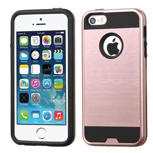 Insten Hard Hybrid Silicone Cover Case For Apple iPhone 5/5S/SE, Rose Gold/Black
