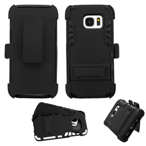 Insten Hard Dual Layer Rubber Coated Silicone Case w/stand/Holster For Samsung Galaxy S7, Black