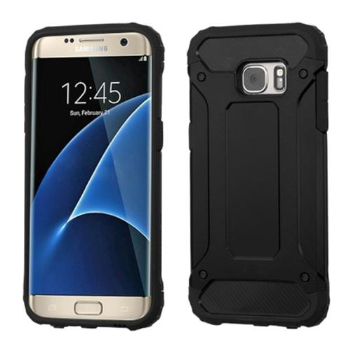 Insten Hard Dual Layer Silicone Cover Case For Samsung Galaxy S7 Edge, Black