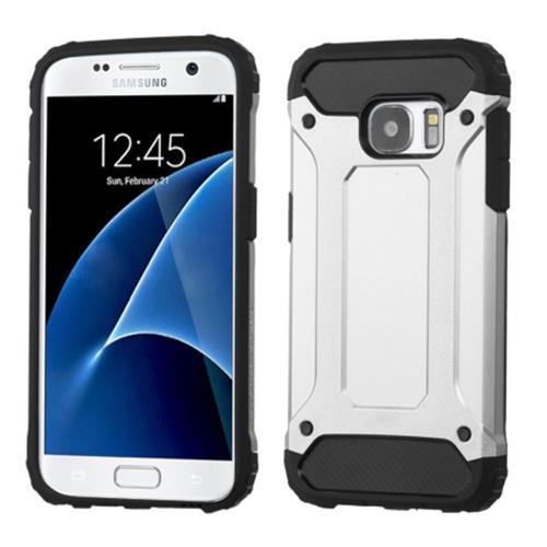 Insten Hard Dual Layer Rubberized Silicone Case For Samsung Galaxy S7, Silver/Black