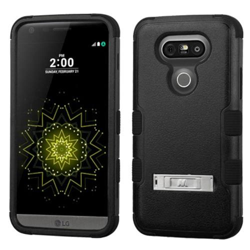 Insten Hard Hybrid Rubberized Silicone Cover Case w/stand For LG G5, Black