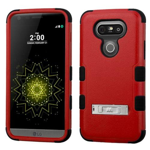Insten Hard Hybrid Rubberized Silicone Cover Case w/stand For LG G5, Red/Black