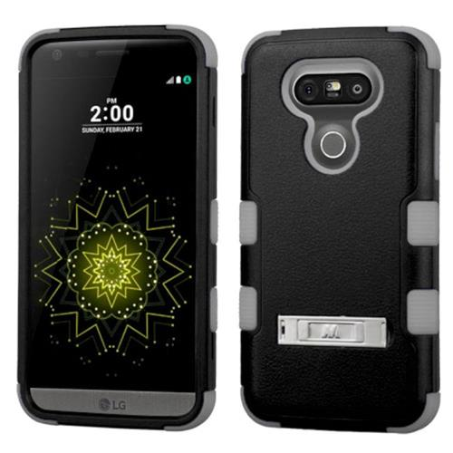 Insten Hard Dual Layer Rubberized Silicone Cover Case w/stand For LG G5, Black/Gray