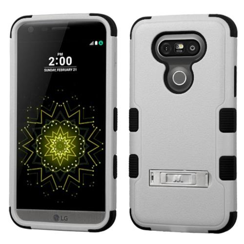Insten Hard Dual Layer Rubberized Silicone Case w/stand For LG G5, Gray/Black