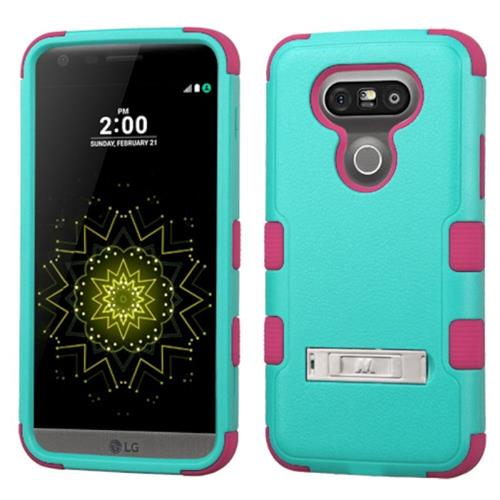 Insten Hard Hybrid Silicone Cover Case w/stand For LG G5, Teal/Pink