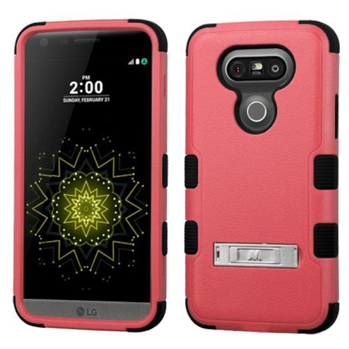 Insten Hard Dual Layer Silicone Cover Case w/stand For LG G5, Pink/Black