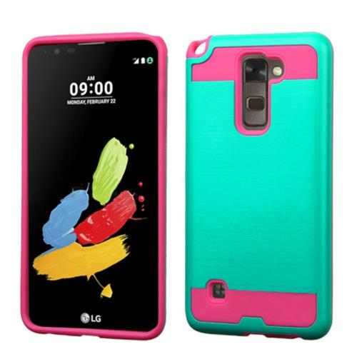 Insten Hard Dual Layer Rubber Silicone Case For LG Stylo 2/Stylus 2, Teal/Hot Pink