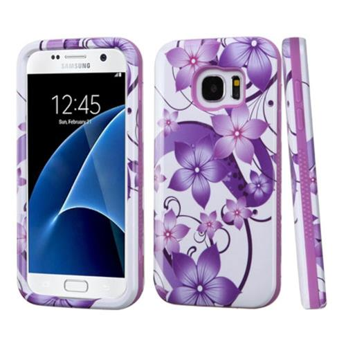 Insten Hibiscus Flower Romance Hard Hybrid Silicone Case For Samsung Galaxy S7, Purple/White