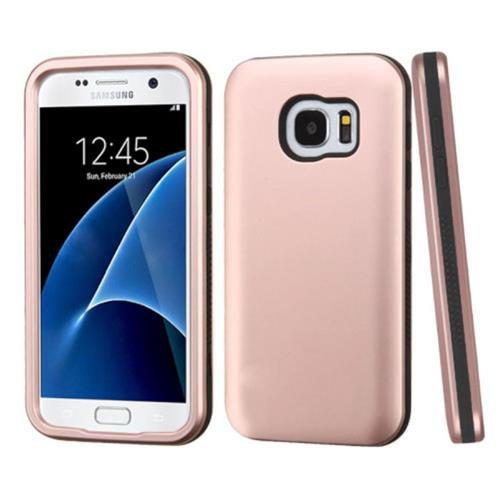 Insten Verge Hard Hybrid Rubberized Silicone Case For Samsung Galaxy S7, Rose Gold/Black