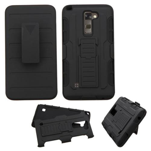 Insten Hard Hybrid Plastic Silicone Case w/Holster For LG G Stylo/Stylus 2, Black